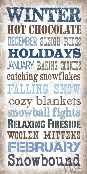 Winter Sayings Subway Art Typography Print - 10x20 Photographic Print
