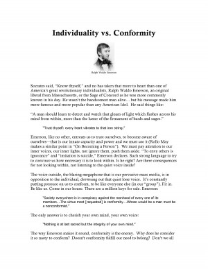 Individuality Vs Conformity picture
