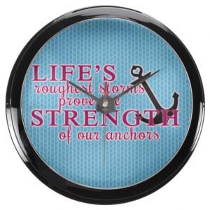 Anchor Strength Quote Aqua Clock