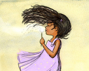 Children's Wall Art - African American Dandelion Girl - Nursey Wall ...