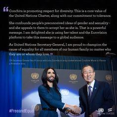In Vienna on 3 November 2014, Ban Ki-moon met Conchita Wurst, the ...