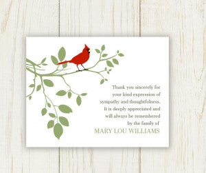 Leaves and Bird Sympathy Thank You Card Printable