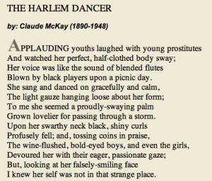 "... Claude McKay | Poem of the Week: ""The Harlem Dancer"