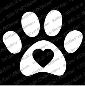 Heart Dog Paw Print Vinyl...