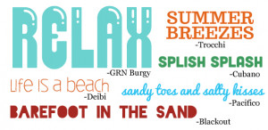 crab fish palm tree umbrella sunglasses pineapple surfboard seashell