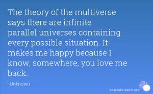 The theory of the multiverse says there are infinite parallel ...