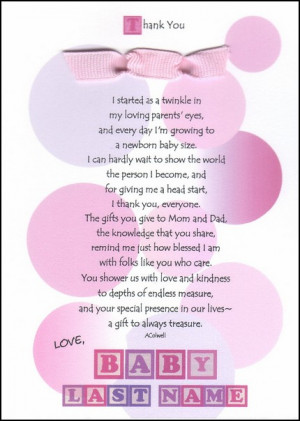 Posts related to baby shower thank you sayings poems