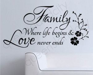 Family Where Life Begins & Love Nev er Ends Wall Quote Floral Sticker ...