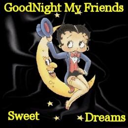 Glitter Text » Greetings » Betty Boop good Night Friends