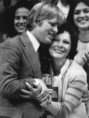 Jack Carter gives Rosalynn Carter a hug after Jimmy Carter won his ...