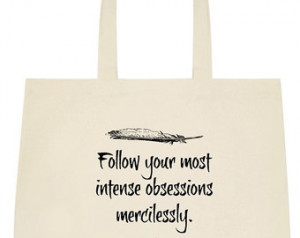 ... Literary Quote Tote Bag - Word Art Shopping Bag - Cotton Canvas Bag