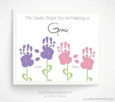 Gift Idea For Babysitter, Hands Flowers, Baby Hands, Baby Footprints ...