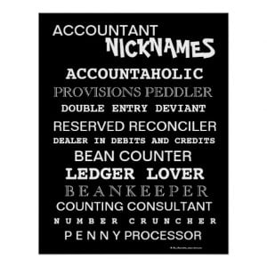 Funny Accountant Nicknames and Silly Job Titles Posters