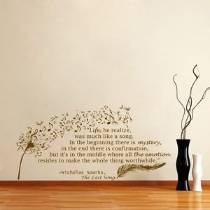 Wall-Vinyl-Decal-Quote-Nicholas-Sparks-Dandelion-Feather-Musical ...