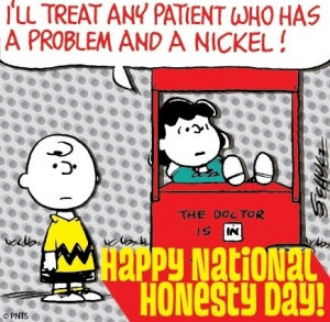 Happy National Honesty Day! Snoopy cartoon via www.Facebook.com/Snoopy