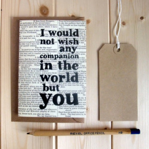 Romantic Shakespeare Quote Anniversary Card 'I would not wish'