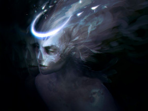 ... fantasy art skull witch face evil angels gothic occult demon wallpaper