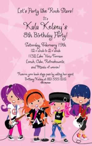 Glam Rock Star birthday party invitation.