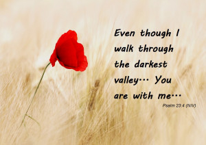 Even though I walk through the darkest valley... you are with me ...