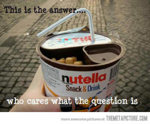 Funny photos funny Nutella snack drink straw