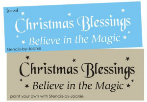 Stencil Christmas Blessings Holiday Stars Believe Magic Country ...