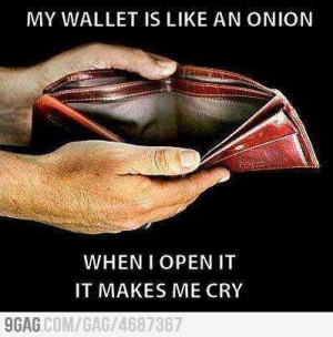 My Wallet is like an onion . When I open it makes me cry