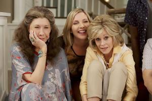 ... , June Diane Raphael and Jane Fonda na série 'Grace and Frankie