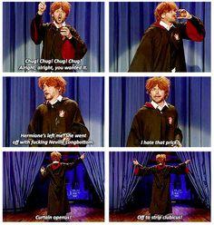 Simon Pegg as Drunk Ron Weasley celebrating Harry Potter's birthday