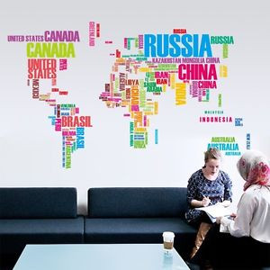 Large-Colorful-World-Map-Letter-Quote-Wall-Sticker-Vinyl-Art-Decals ...