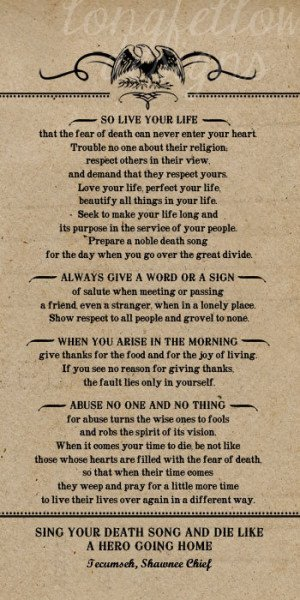 Poem by Tecumseh, American Shawnee Chief. 10 x 20 Kraft Look Print ...