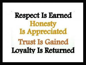 Respect #Honesty #Trust #Loyalty
