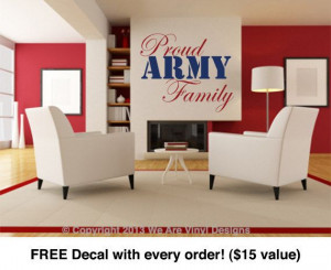 Decals. Proud Army Family (17.3 wide x 14 tall) CODE 024 Army Quotes ...