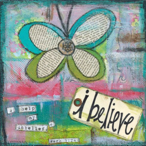Butterfly bible verse faith collage mixed media original art