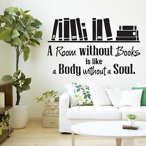 ... Without-Books-Quote-Library-Wall-Sticker-Decal-Vinyl-Wall-Art-Transfer
