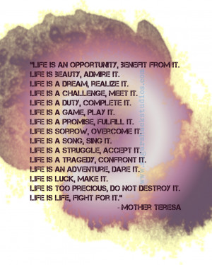 Mother Teresa Life Is Purple and Gold Quote , 11x14 Giclee Print ...