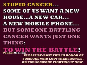 Stupid Cancer…