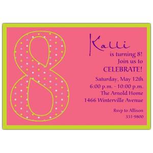 Girls 8th Birthday Invitation Wording