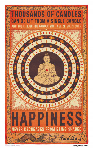 Buddha candle quote happiness never decreases from being shared meme ...