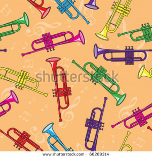 Seamless colorful trumpets background - stock vector