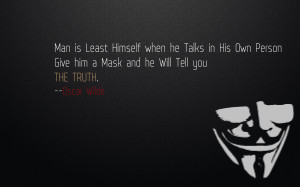 Minimalistic quotes masks oscar wilde v for vendetta wallpaper ...