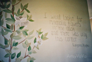 This Langston Hughes quote and magnolia tree are painted going up a ...