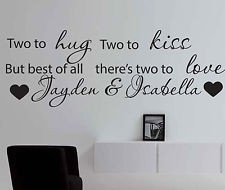 ... Wall Art Quote - Vinyl Sticker Two To Love For Twins Baby Boy Girl