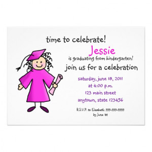 Kindergarten Graduation Invite--Girl, Pink from Zazzle.com
