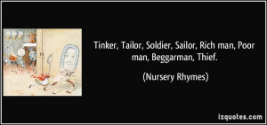 Tinker, Tailor, Soldier, Sailor, Rich man, Poor man, Beggarman, Thief ...