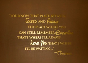 Tinkerbell Quote- You know that place between Sleep and Awake The ...