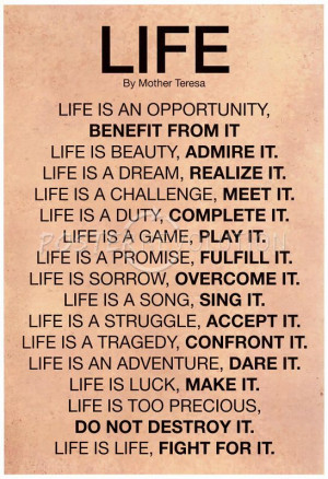 Mother Teresa Life Quote Motivational Poster - 13x19
