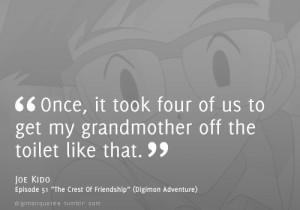 "... Joe Kido, episode 51 ""The Crest Of Friendship"" (Digimon Adventure"