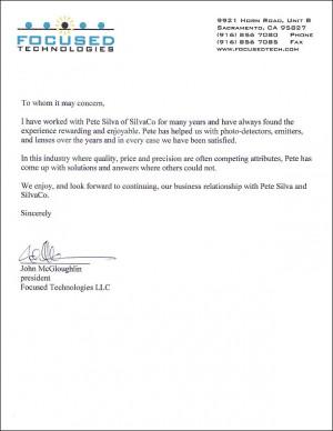 sales recommendation letter