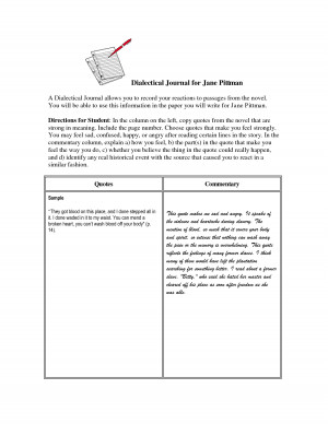 Dialectical Journal for Jane Pittman