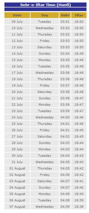Bangladesh Ramadan Calendar 2013